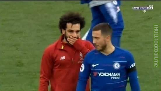"Salah to Hazard, ""When you join Real Madrid ask them about the capital of the Dutch and of Catalonia!!!"""