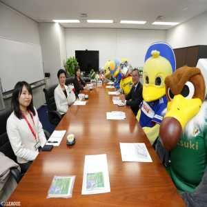 "J League bird mascot delegation meets with Her Imperial Highness Princess Takamado who is the honorary president of a bird conservation NGO ""Bird Life International""."
