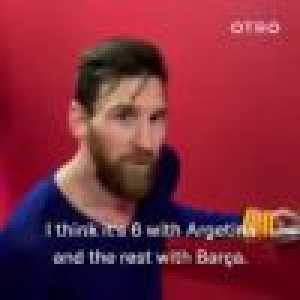 Messi's reaction upon hearing he scored his 50th career hat trick