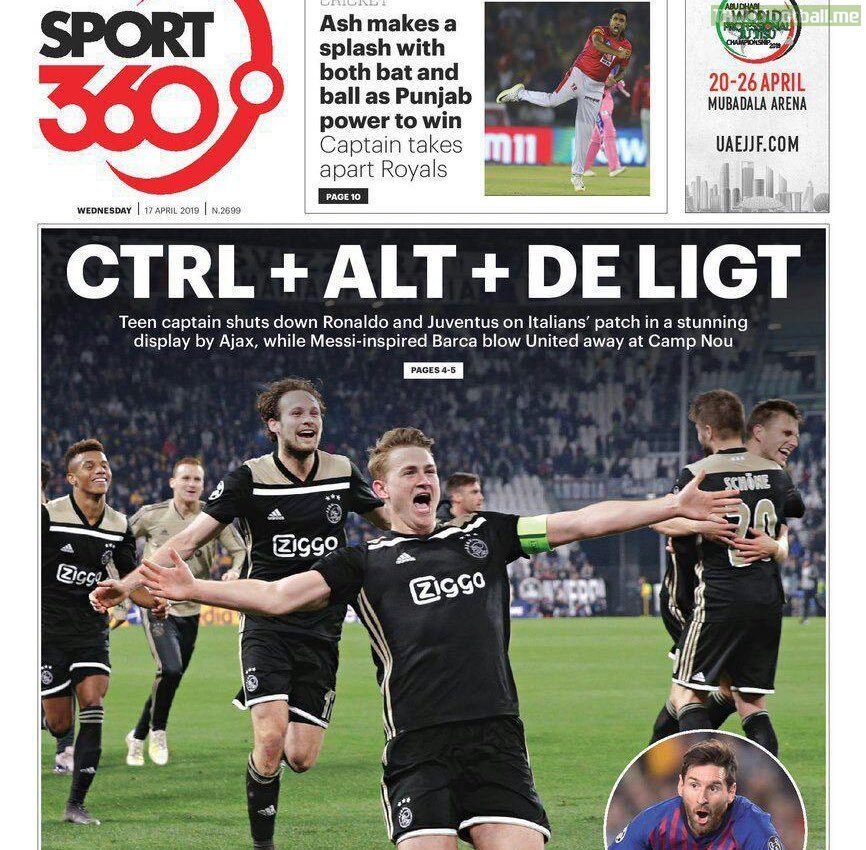 Sport 360's headline after Ajax' elimination of Juventus Turin