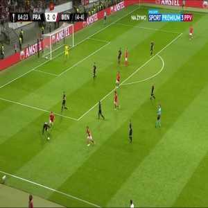 Eduardo Salvio (SL Benfica) hits a post vs. Eintracht Frankfurt (85')