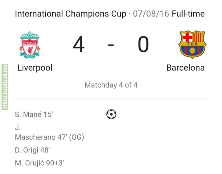 Last Time FC Barcelona Faced Liverpool FC..