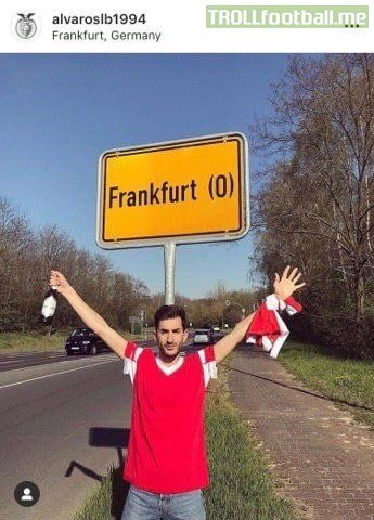 This Benfica fan drove for 1800 miles to the wrong City of Frankfurt ahead of their Europa League match.   He travelled to Frankfurt (Oder) in Eastern Germany rather than the Main City of Frankfurt.  The two places are 600km apart. You have to feel for him.. 😭😂
