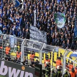"Schalke fans today displayed a banner calling the bus bombing aimed at Borussia Dortmund a ""great idea"" and asking for a release of the attacker"