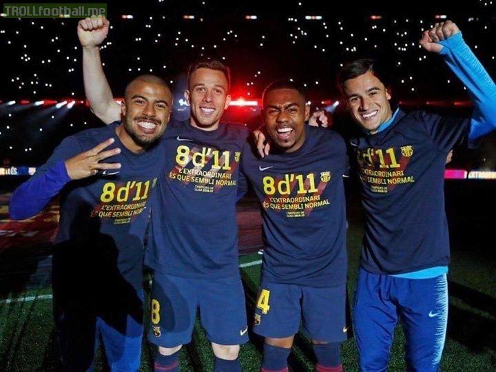 The Brazilian clan celebrating Barcelona's back to back La Liga triumph!!