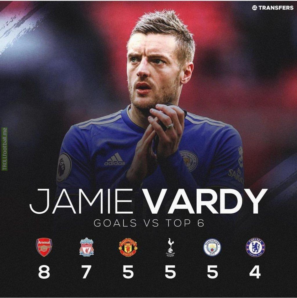 Jamie vardy's goals against top 6