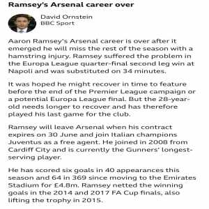 Ornstein: Aaron Ramsey's Arsenal career is over he will miss the rest of the season with a hamstring injury. It was hoped he might recover in time to feature before the end of PL campaign or a potential EL final. But he needs longer to recover and has therefore played his last game for the club