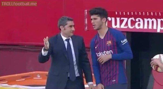 """Valverde: """"Do you know what you have to do?""""  Alena: """"No""""  Valverde: """"Me neither, tell Messi I said hi."""""""