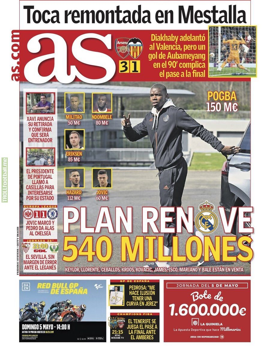 "AS cover: ""€540M Renewal Plan"" Militão (€50M), Ndombele (80), Eriksen (85), Jovic (60), Hazard (112) and Pogba (150) - Keylor, Llorente, Ceballos, Kroos, Kovacic, James, Isco, Mariano and Bale are for sale."
