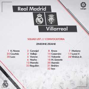 Zidane left Gareth Bale out of Real Madrid's squad by for the upcoming game against Villarreal.