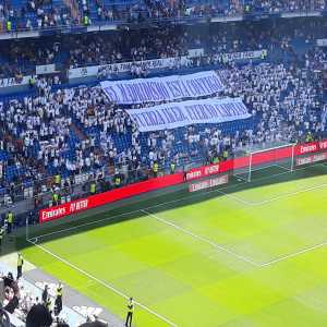 Real Madrid fans display tifo at the Bernabeu in support of Iker Casillas before their game against Villareal.