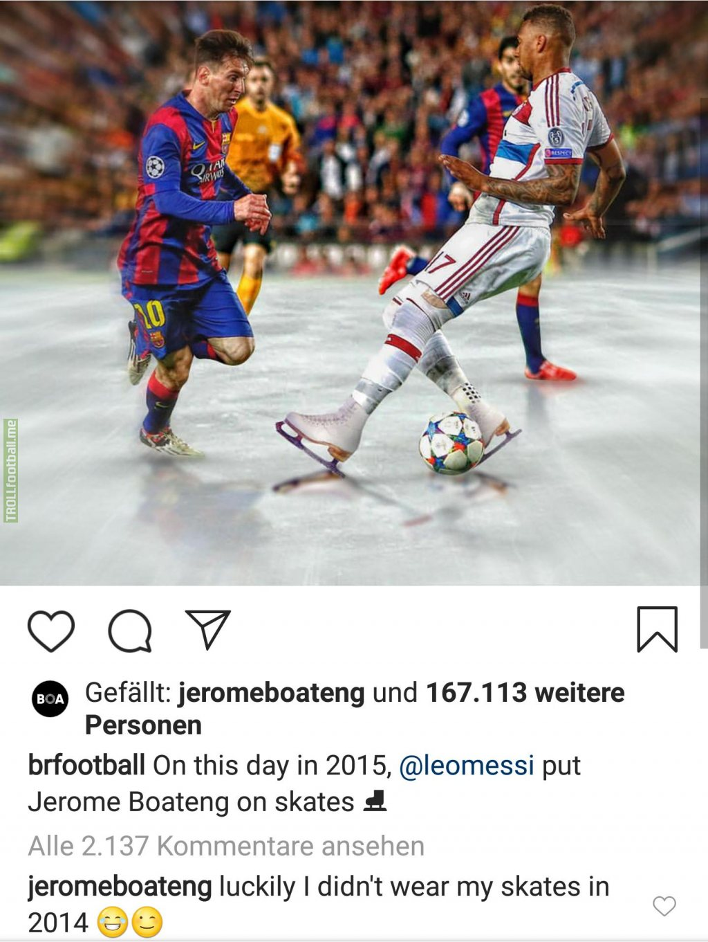 Bleacher report Football posted a throwback to the time Lionel Messi let Jerome Boateng slip in 2015. Jerome Boateng just replied by mentioning his performance in the 2014 world cup final
