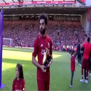 Anfield and Mo Salah celebrate as Salah's daughter scores a goal post-match