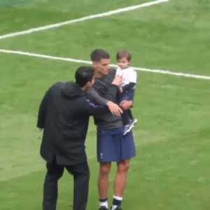 Son spent the majority of his time during Spurs' victory lap celebrating with his team-mates children