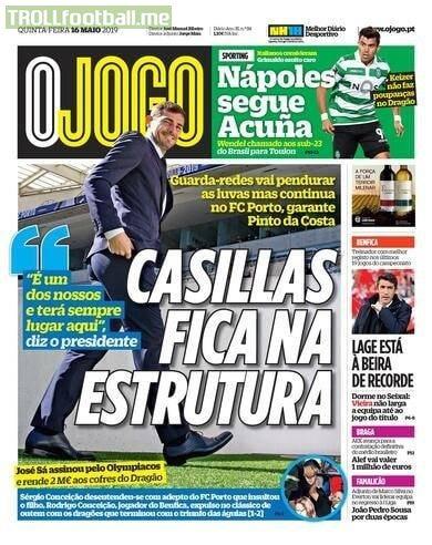 Official: According to Portuguese newspaper O Jogo, Porto president confirms Casillas will retire due to heart attack.