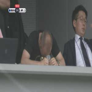 Andres Iniesta watching Vissel Kobe thrashed by Yokohama F. Marinos from the stand
