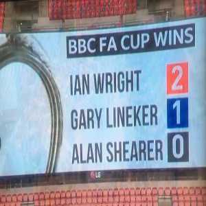 Gary Lineker reminds Alan Shearer that he's never won the FA Cup with the help of the big screen at Wembley.