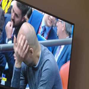 Pep's reaction when the 6th goal went in