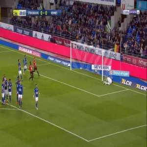 Strasbourg 0-1 Rennes - Benjamin Bourigeaud free-kick 24'