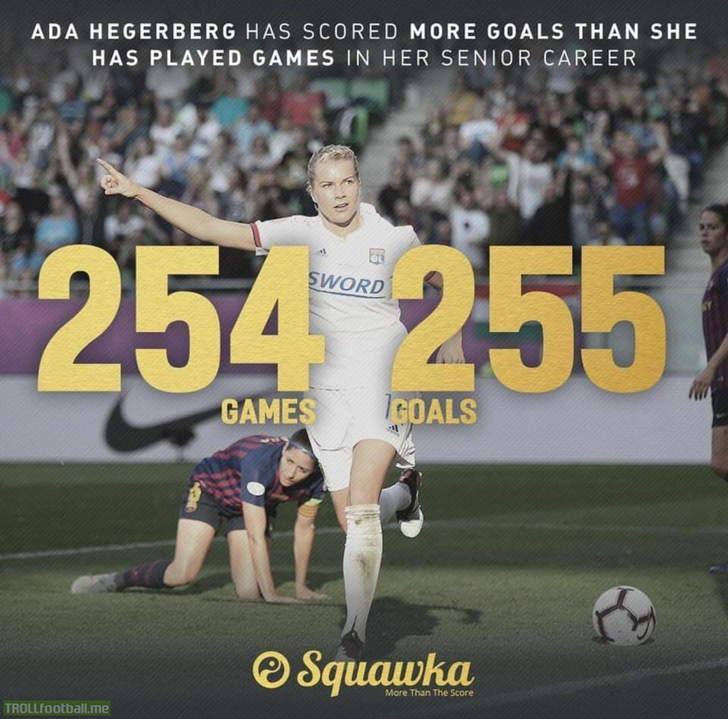 Ada Hegerberg has scored more goals (255) than she has played games (254) in her senior career. She's 23.