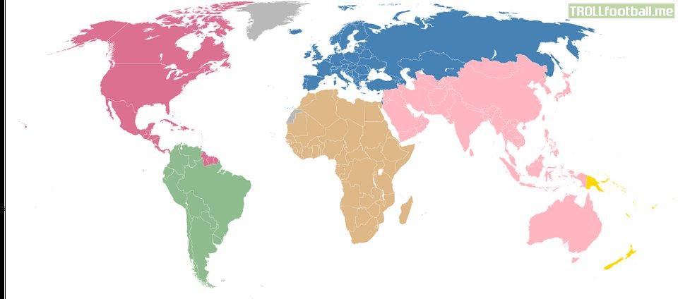 Continental borders as seen by the Fifa (Fédération Internationale de Football Association)