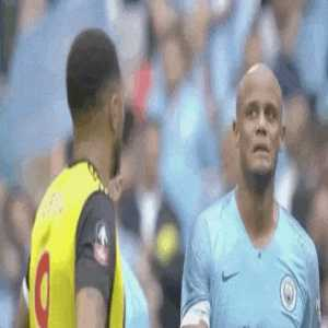 Kompany's reaction to Troy Deeney after the 5th goal goes in
