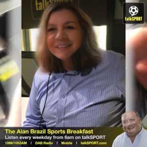 "The Alan Brazil Sports Breakfast: """"My name's Samantha!"" Sam Allardyce gets a makeover courtesy of Snapchat's new 'Gender Swap' filter... 😬 Big Sam loved it! 😂"""