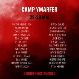 26-man Welsh squad for a Training Camp in Portugal