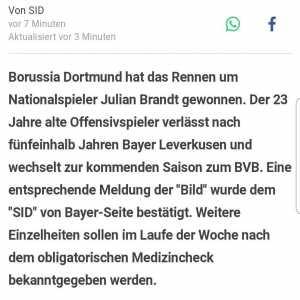 Bayer Leverkusen confirms report that Julian Brandt will join Dortmund this Summer