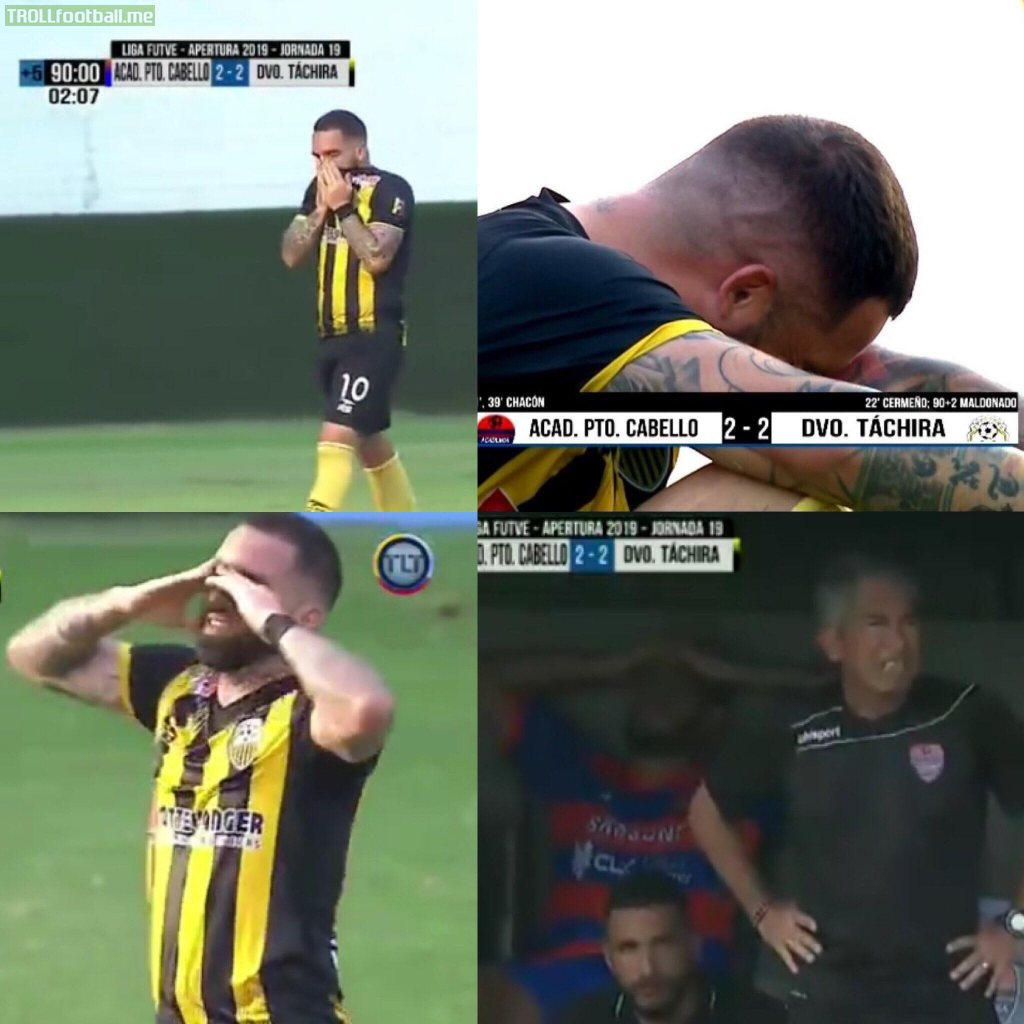"Venezuelan League: Giancarlo Maldonado (Táchira) scored the 2-2 goal against Academia Pto Cabello, managed by his father Carlos Maldonado. He didn't celebrate as he eliminated them from ""Torneo Apertura"""