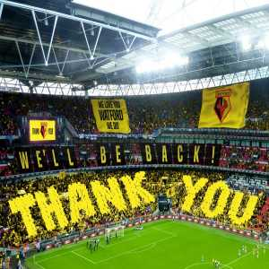 Watfords official Twitter page photoshop the crowd of the Arsenal v Birmingham cup final and pass the fans off as their own.