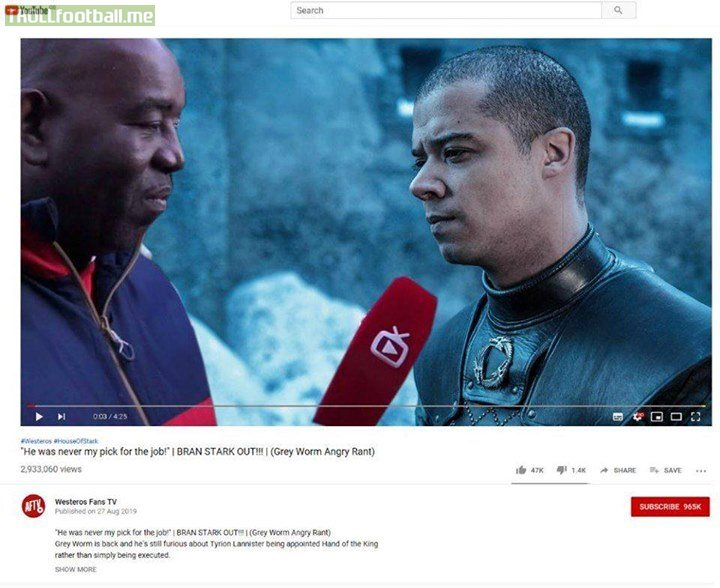 Grey Worm on Westeros Fan TV after the GameofThrones finale 😂