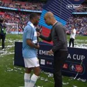 Pep coaching Sterling at the title celebration.