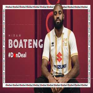 MK Dons have made midfielder Hiram Boateng their first signing of the summer.