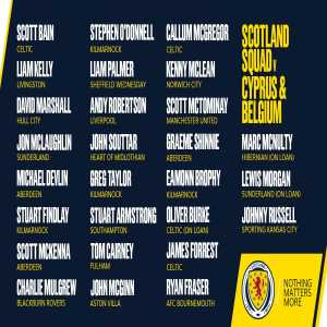 Scotland Squad to face Cyprus and Belgium next month.