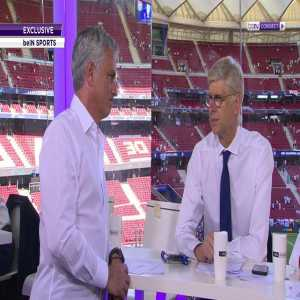 Jose Mourinho and Arsene Wenger chatting in studio before the beIn Sports Champions League coverage