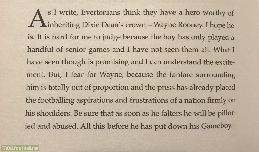 "Interesting passage about Rooney from George Best's ""Scoring at Half-Time"" (2003)"