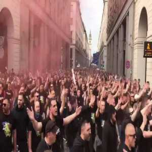 Bosnian away fans in Torina ahead of today's game