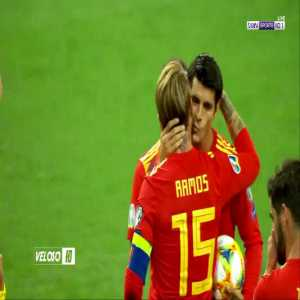 Sergio Ramos giving penalty to Morata to boost his confidence and an exchange of nice gesture between them.