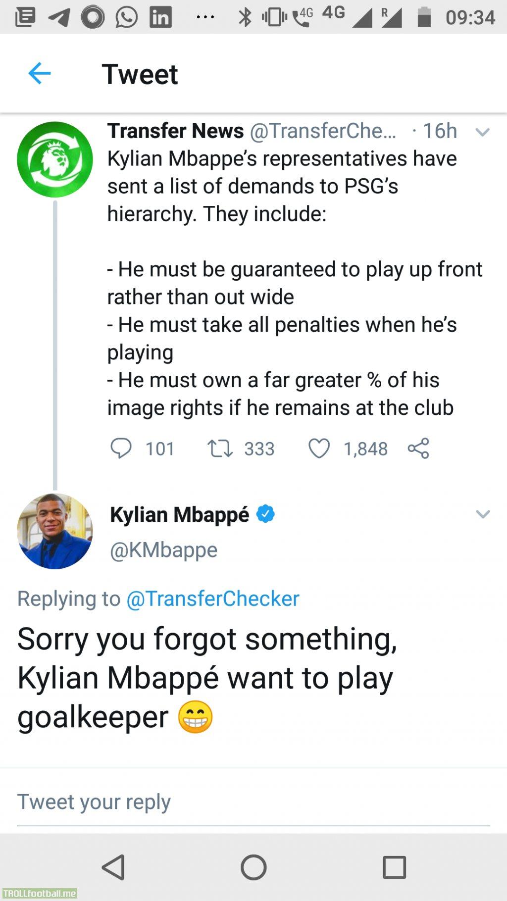 Kylian Mbappe shoots down a transfer rumormonger
