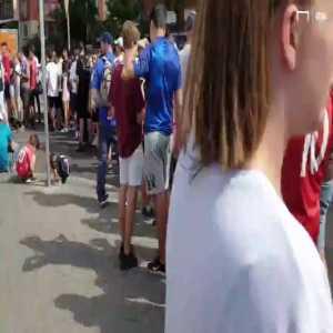 Massive queues outside the Bernabeu for Hazard presentation.