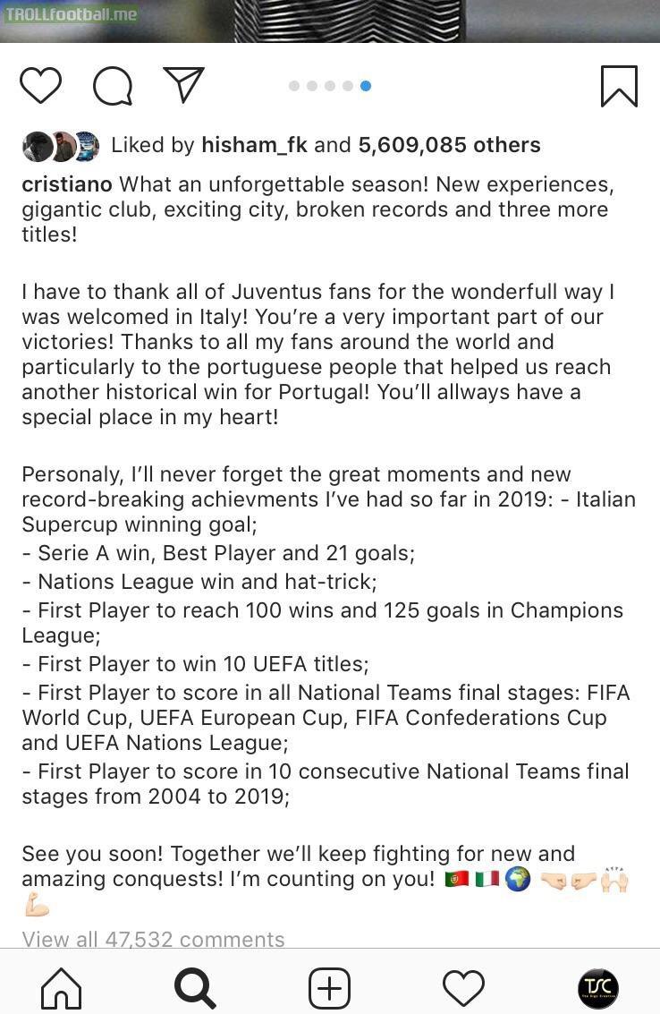 Cristiano Ronaldo lists his achievements on Instagram