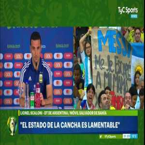 """Argentina head coach Lionel Scaloni after Argentina's loss against Colombia: """"The state of the pitch was pitiful."""""""
