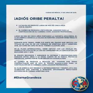 América announces that Oribe Peralta has been sold to Guadalajara, by request of the player.