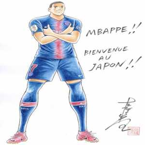 Catpain Tsubasa author 's draw of Mbappe.