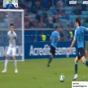 Cavani hits the crossbar vs Japan 36'