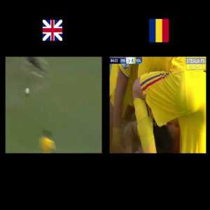 Romanian and English commentators reactions to the goals in the England-Romania U21 match, side by side