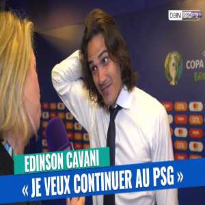 Edinson Cavani saying that he is proud playing for PSG and wants to stay in an interview after last night's game for Uruguay