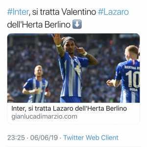 [Di Marzio] Agreement has been found for Valentino Lazaro to Inter: 22mln + bonus to Hertha