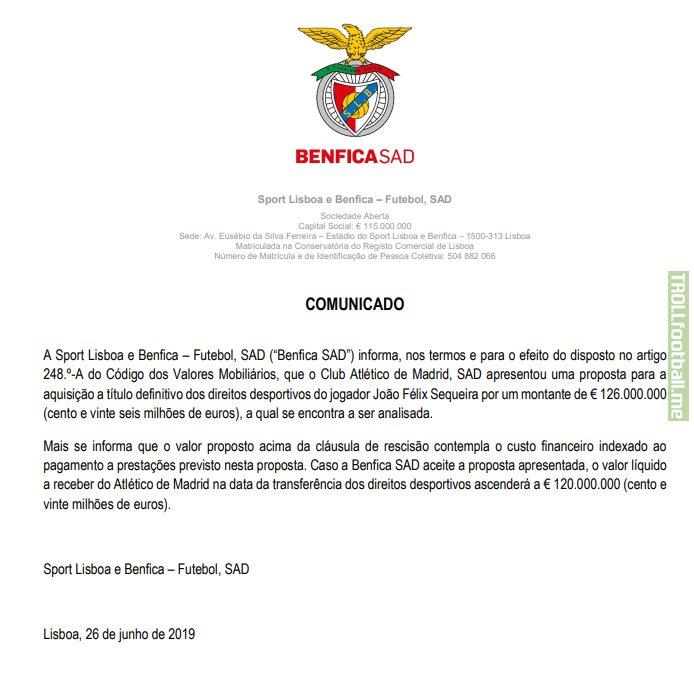 SL Benfica informs that Atlético de Madrid has made a 126M€ offer for João Félix